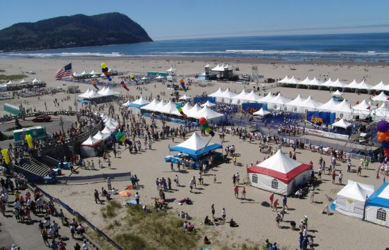 Hood to Coast tents on Seaside Beach